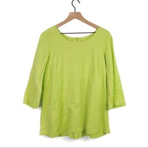 Flax Linen Lime Green Button Pleated Pocket Top S